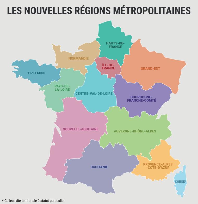 Mappa delle 13 regioni francesi