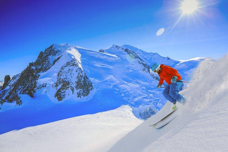 sciare a Chamonix in Francia